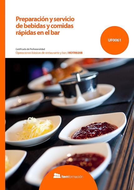 Preparación y servicio de bebidas y comidas rápidas en el bar.